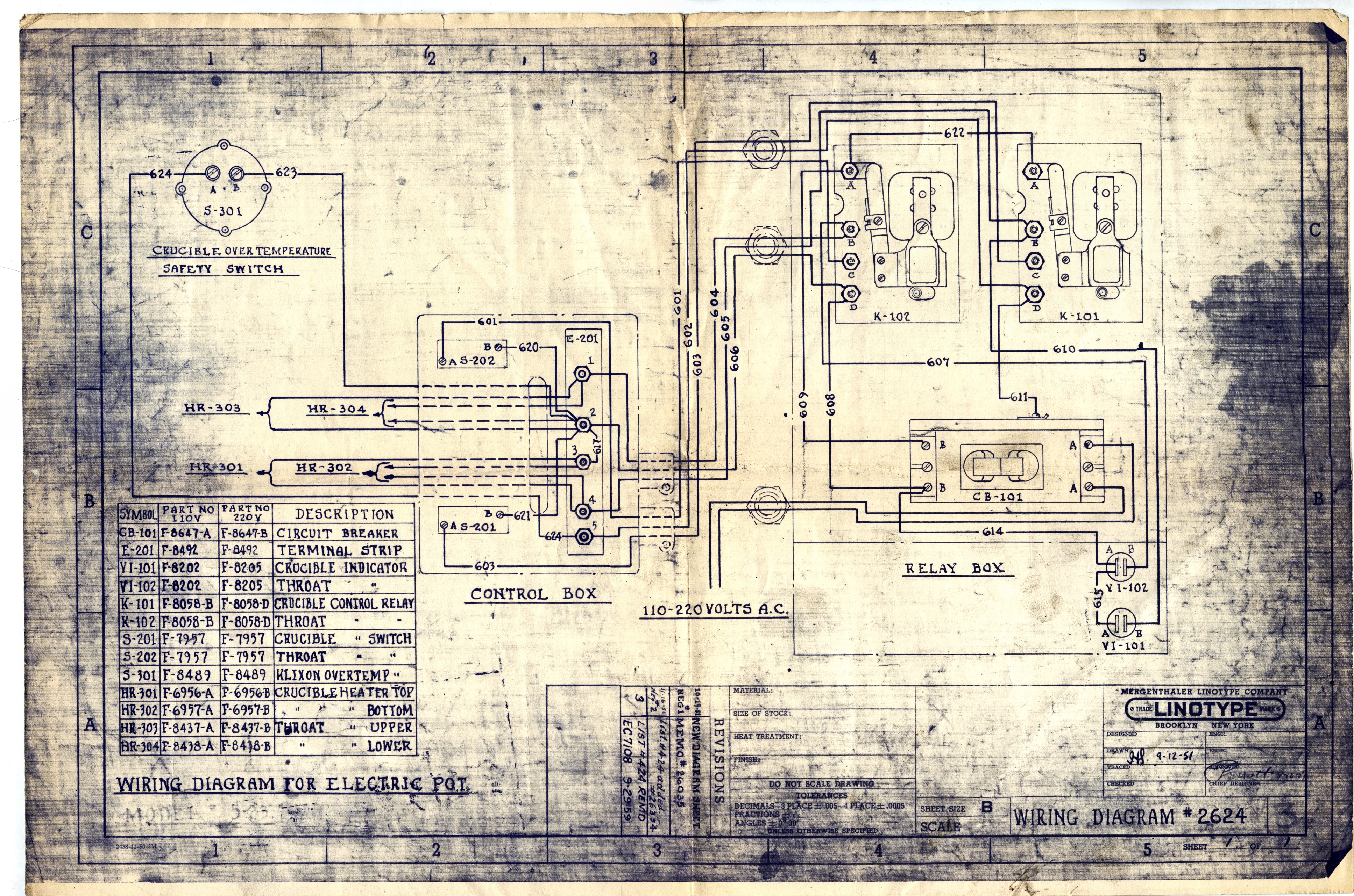 Mergenthaler Linotype Wiring Diagrams Electrical 110 To 220 Diagram For Electric Pot 2624 1 Sheet Brooklyn Ny Company 1951 1959 Drawn 02 12