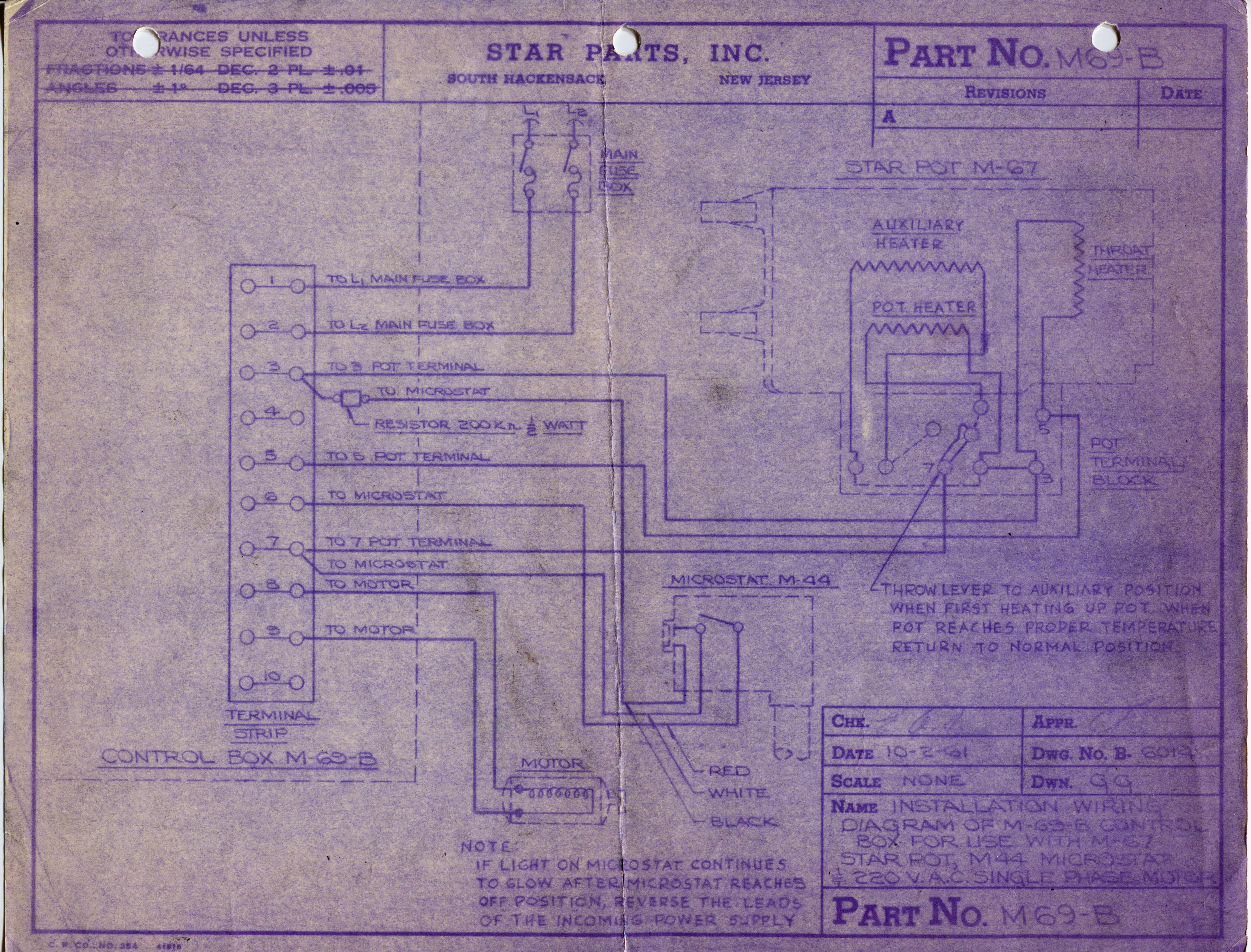 Engineering Drawings Data Part Numbers M69 Linotype Parts 220 Wiring Diagram Box No B Dwg 6014 1961 10 02 Original Version Installation Of M60 Control For Use With M 67 Star Pot M44 Microstat