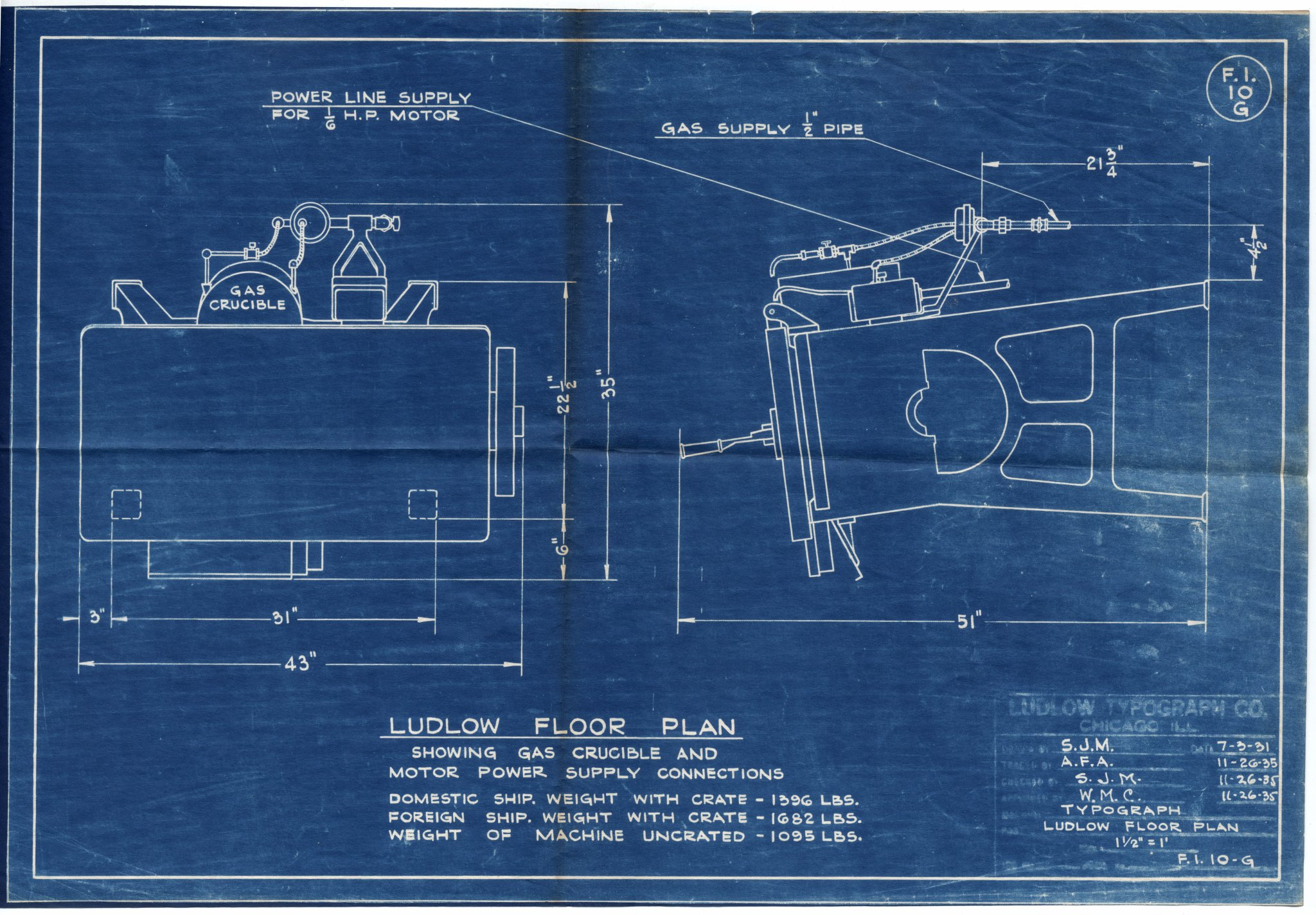 Ludlow typograph erecting procedures for Blueprint scale