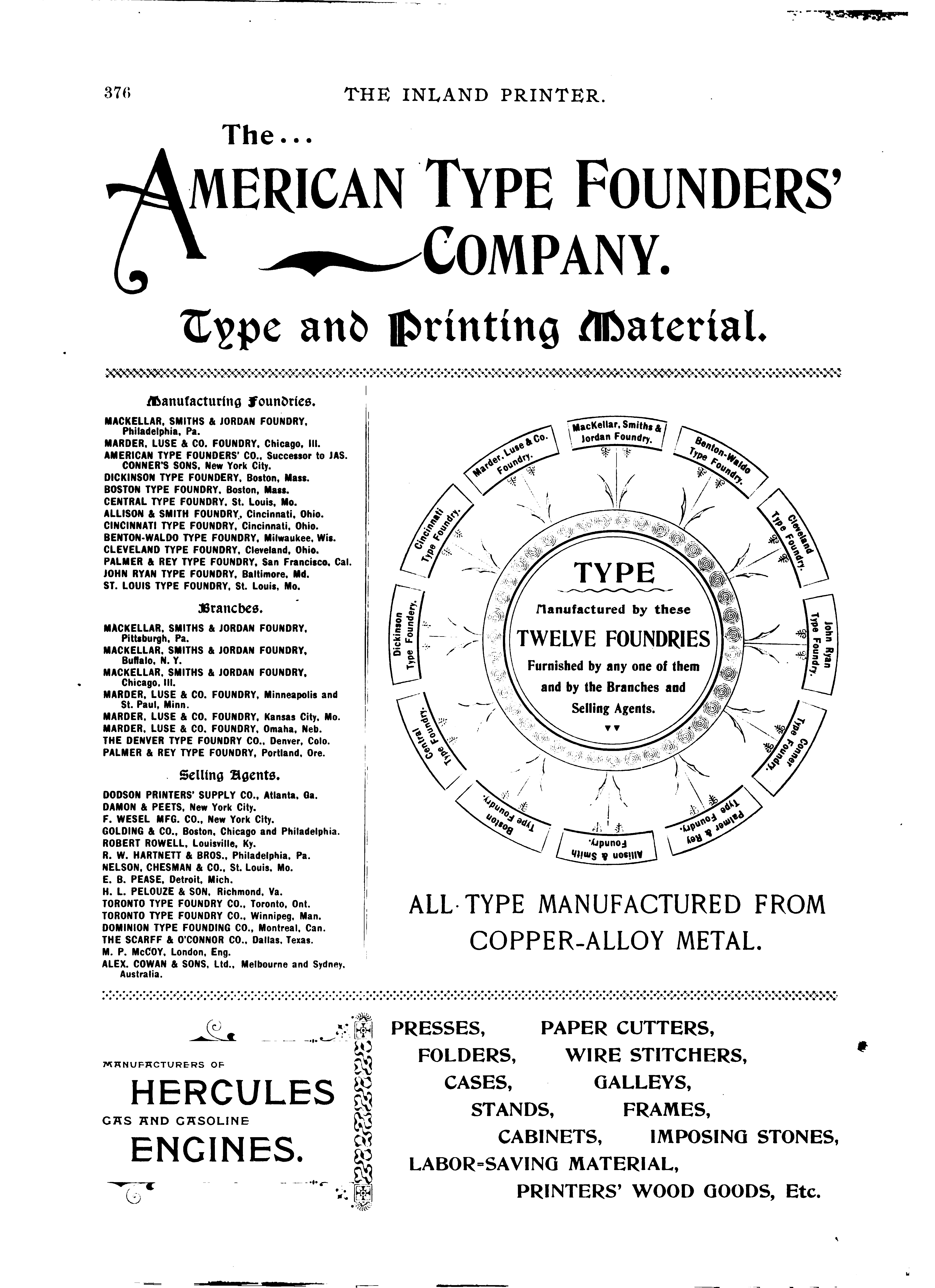 American Type Founders: Early History Through 1906